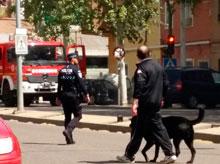 Los Bomberos sofocan el incendio en un vehículo en la Avenida Francisco Aguirre