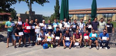 Los jugadores del CF Talavera, protagonistas del I Torneo de Footgolf en Palomarejos Golf