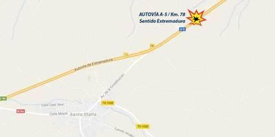 Cuatro personas heridas en un accidente en la A-5 en Santa Olalla