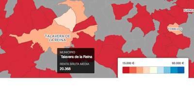 Talavera, por debajo de la renta bruta media anual en España