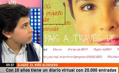 El joven bloguero Álvaro Cabo lleva sus conocimientos y reflexiones a Antena 3