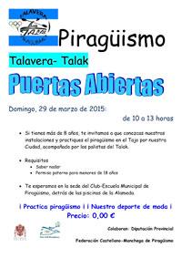 Jornada de puertas abiertas del club de piragüismo Talavera Talak el domingo 29 de marzo