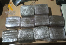La Guardia Civil detiene en Tembleque a dos personas que transportaban cinco kilos de hachís