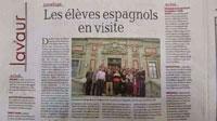 La prensa francesa se hace eco de la visita del IES Gabriel Alonso Herrera