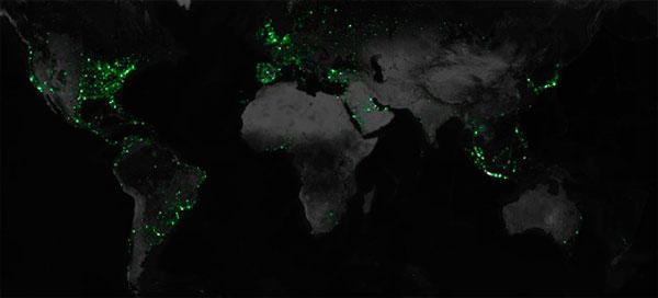 Mapa mundial del uso de Twitter en los últimos 42 meses