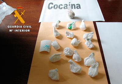 La Guardia Civil detiene a una persona por un delito contra la salud pública ocurrido en Cazalegas tras intervenir 86 gramos de cocaína