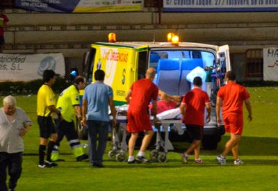 Diego Prado:rotura del peroné y de un ligamento del tobillo en la derrota ante el Leganés