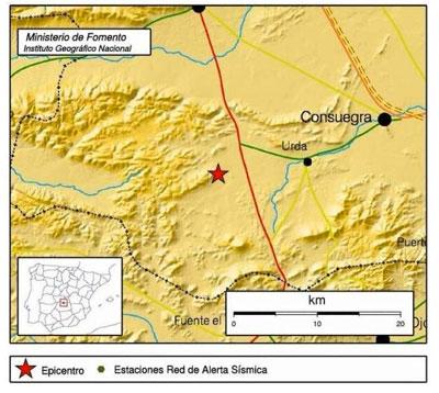La localidad toledana de Urda, epicentro de un terremoto de 3,7 grados en la escala de Richter