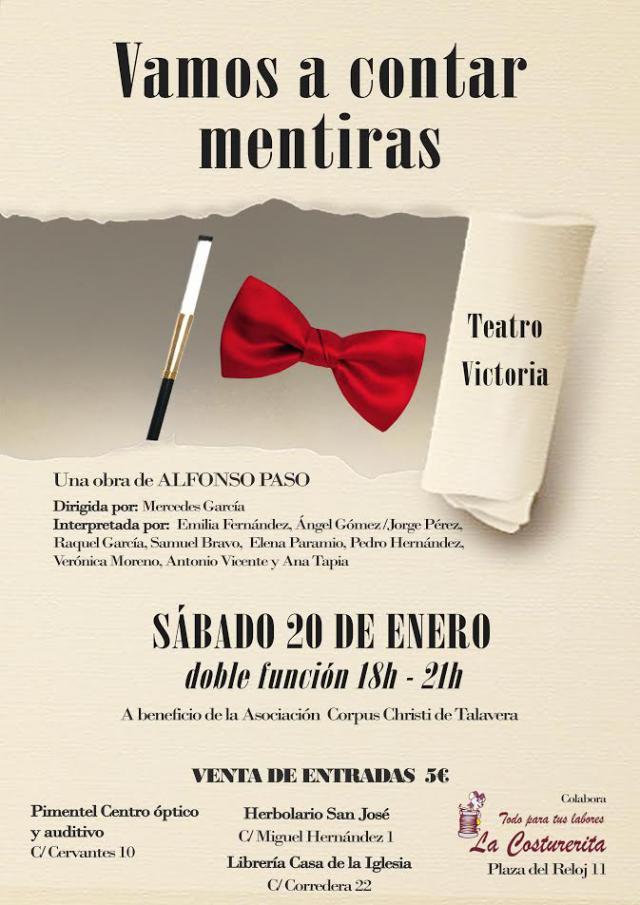 'Vamos a contar mentiras', la obra teatral benéfica que la Asociación Corpus Christi de Talavera representará en el Teatro Victoria