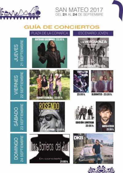 Rosendo, Nancys Rubias, Antonio Carmona y David Otero actuarán en las Ferias de San Mateo
