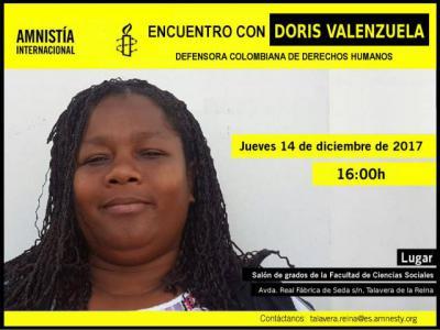 Amnistía Internacional organiza en Talavera un encuentro con Doris Valenzuela, activista colombiana amenazada por su defensa de los derechos humanos