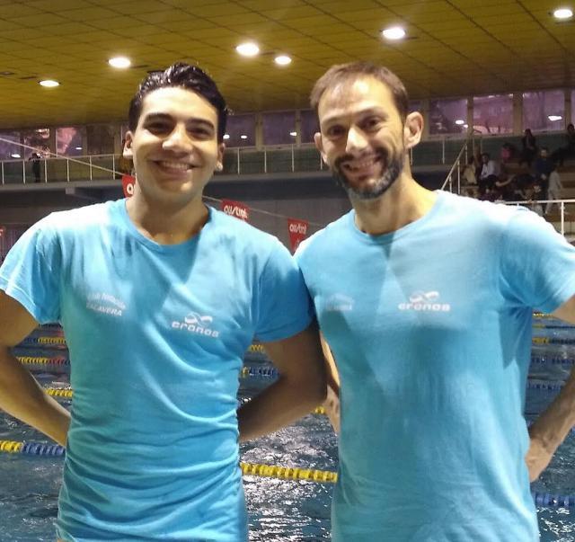 Juan Pablo Zapata con su entrenador Emilio Beltrán