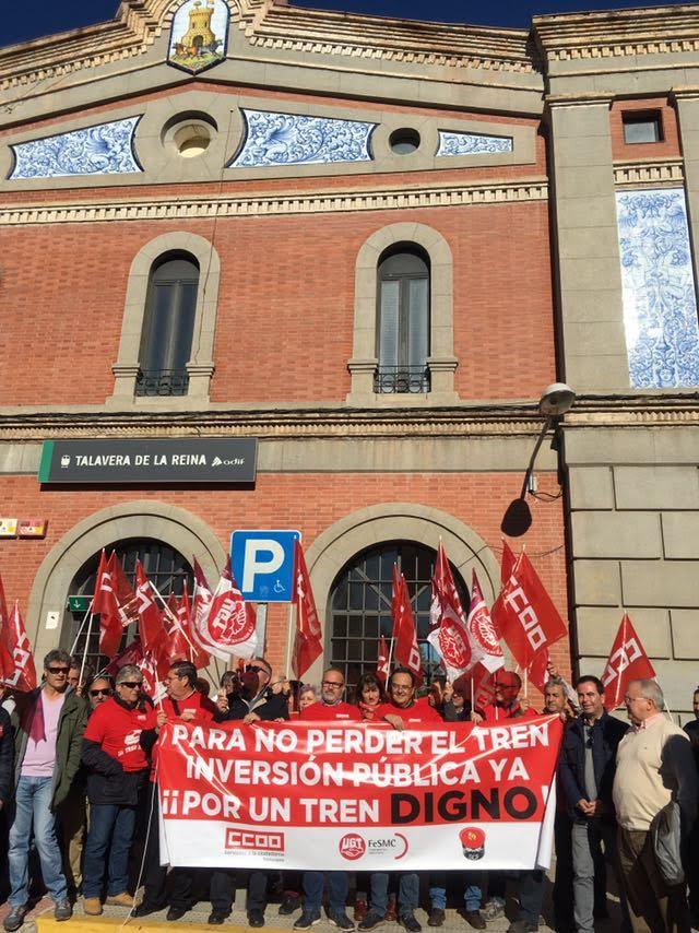 """Las concentraciones """"Por un tren digno"""" llegan por tercera vez a Talavera, sin presencia del PP"""