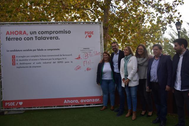 VÍDEO | El PSOE se compromete a mejorar el tren, desbloquear accesos y el suelo industrial en Talavera