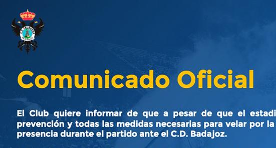 ULTIMA HORA   Comunicado del CF Talavera sobre el partido frente al CD Badajoz
