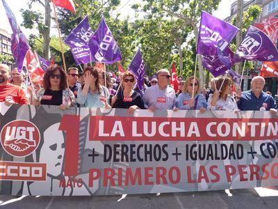 Unas 500 personas participan en Talavera en la manifestación del 1 de Mayo