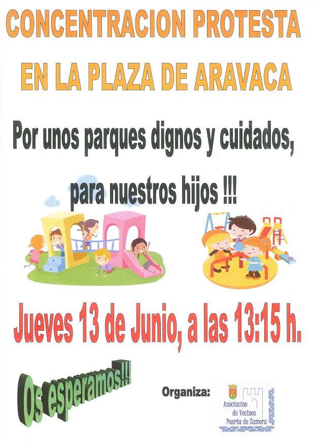 Concentración en Talavera para pedir 'parques dignos' tras la caída de un juego infantil