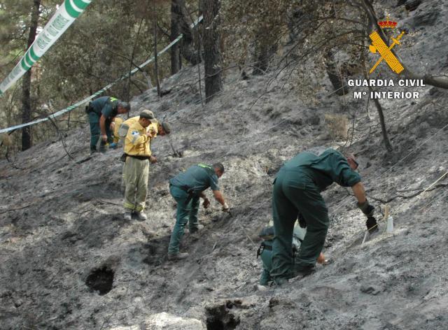 Dos detenidos por provocar con cócteles molotov un incendio forestalen CLM