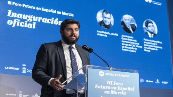 Fernando López Miras, en la jornada 'Recursos Hídricos: innovación y desafíos', en el marco del 'III Foro Futuro en Español' CARM