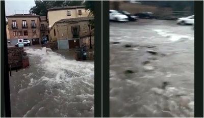 Impresionante riada en Toledo: coches arrastrados, calles arrancadas...