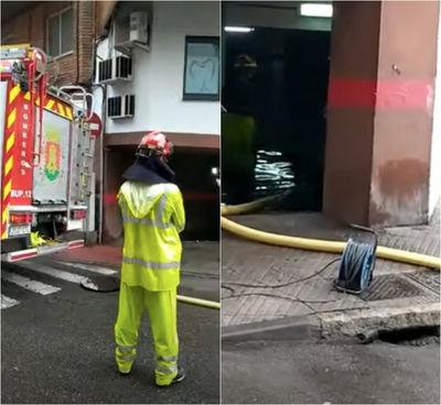 La lluvia multiplica el trabajo de los bomberos en Talavera: garajes y bajos inundados