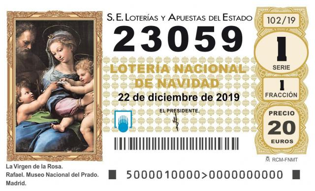 El 23.059, tercer quinto premio del Sorteo de Navidad 2019