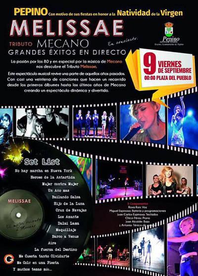 'Melissae' y 'Nacha Pop' actuarán en las fiestas de Pepino