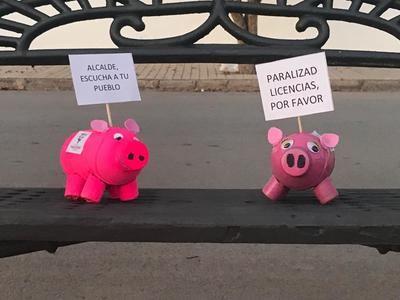 1990 cerdos salen a la calle para manifestarse contra las macrogranjas porcinas