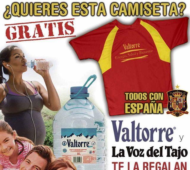 Por sólo 8 etiquetas de Valtorre con La Voz del Tajo te regalamos una camiseta para apoyar a España en el Mundial