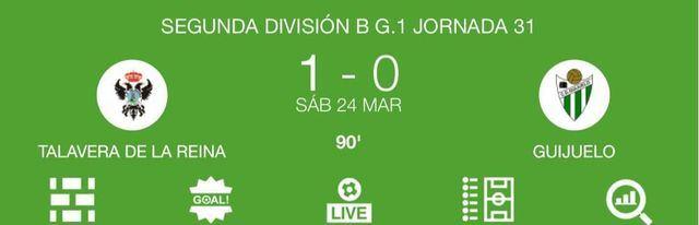 El CF Talavera gana en casa al CD Guijuelo con un 1-0