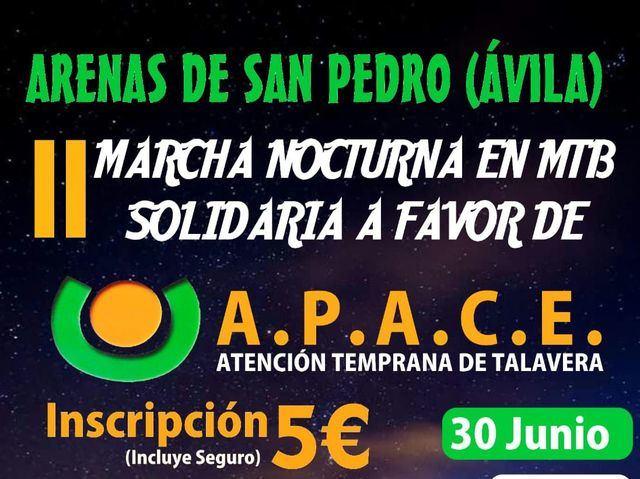 Arenas de San Pedro organiza la 'II Marcha Nocturna MTB Solidaria' a favor de APACE Talavera
