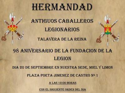 La 'Hermandad de Antiguos Legionarios de Talavera' conmemora el 98 aniversario de la Legión