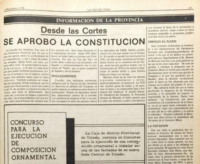 Hace 40 años las Cortes aprobaban la Constitución y La Voz del Tajo te lo contaba así