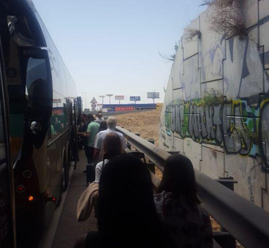 Un autobús de la línea Madrid-Talavera se queda sin frenos en plena autovía A-5