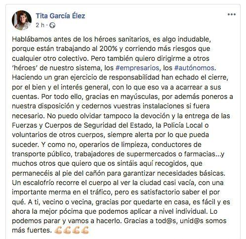 CORONAVIRUS | La alcaldesa de Talavera pone en valor el sacrificio de empresarios, autónomos y trabajadores