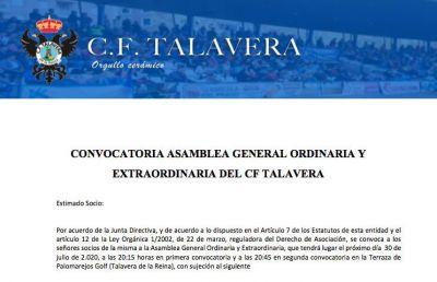 CF TALAVERA   30 de julio, fecha para la asamblea camino de la SAD