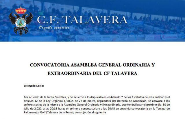 CF TALAVERA | 30 de julio, fecha para la asamblea camino de la SAD