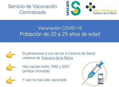 Vacunación masiva de jóvenes de 20 a 29 años en Talavera
