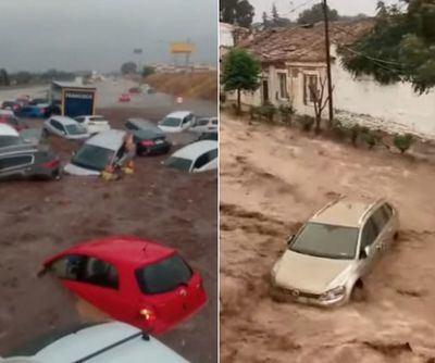 Imágenes dantescas del temporal en Toledo: 8 vídeos de la DANA