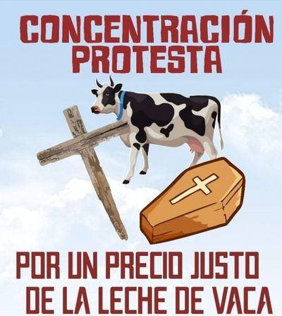 Cortes de tráfico por la concentración protesta del precio de la leche