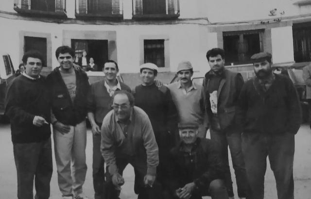 Juanito y Mejías en Parrillas siendo jugadores del Atlético de Madrid en un día de caza mayor