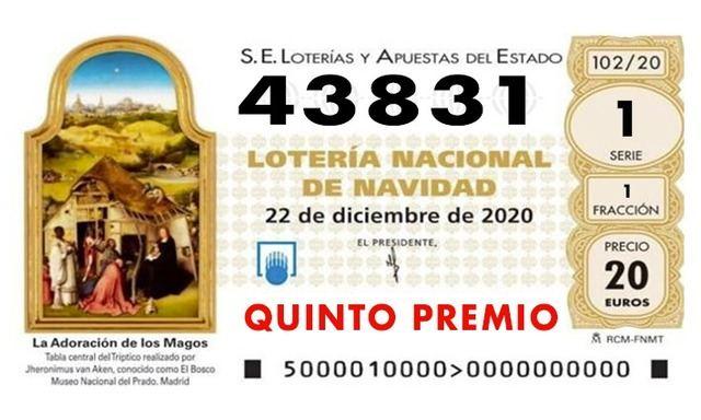 LOTERÍA DE NAVIDAD | El quinto premio, 43.831, cae en la provincia de Toledo