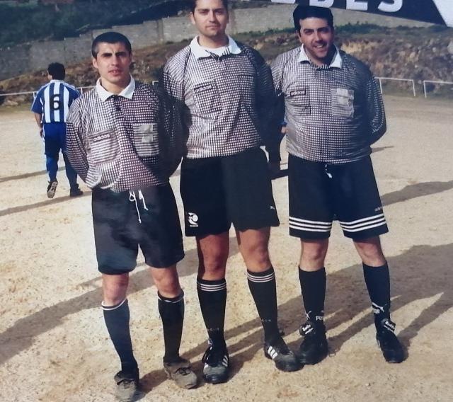 Menudo trío arbitral. Titi Arellano, Gil de la Morena y el mayor de los Pérez Caja