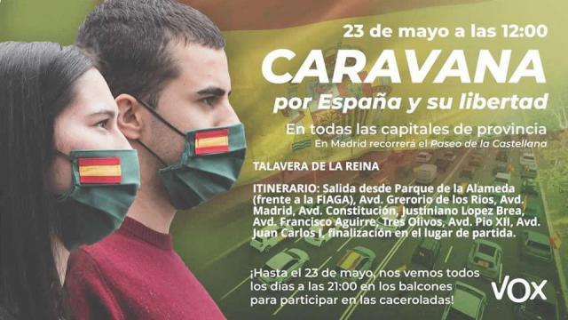 TALAVERA   Vox convoca para este sábado a la caravana 'Por España y la Libertad'