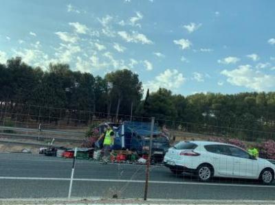 Atrapado un camionero tras salirse de la A-42 a su paso por Toledo