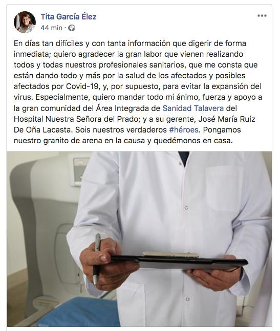 CORONAVIRUS | Tita García agradece y valora el esfuerzo del personal del Hospital talaverano