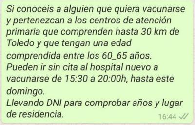 OTRO BULO   Envían llamamientos falsos por Whatsapp para vacunarse en Toledo