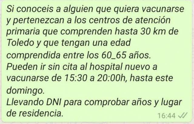 OTRO BULO | Envían llamamientos falsos por Whatsapp para vacunarse en Toledo