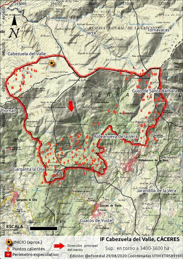 INCENDIO EN EL JERTE | Así evoluciona el fuego en la zona de La Vera. Se trabaja en más de 3.000 hectáreas