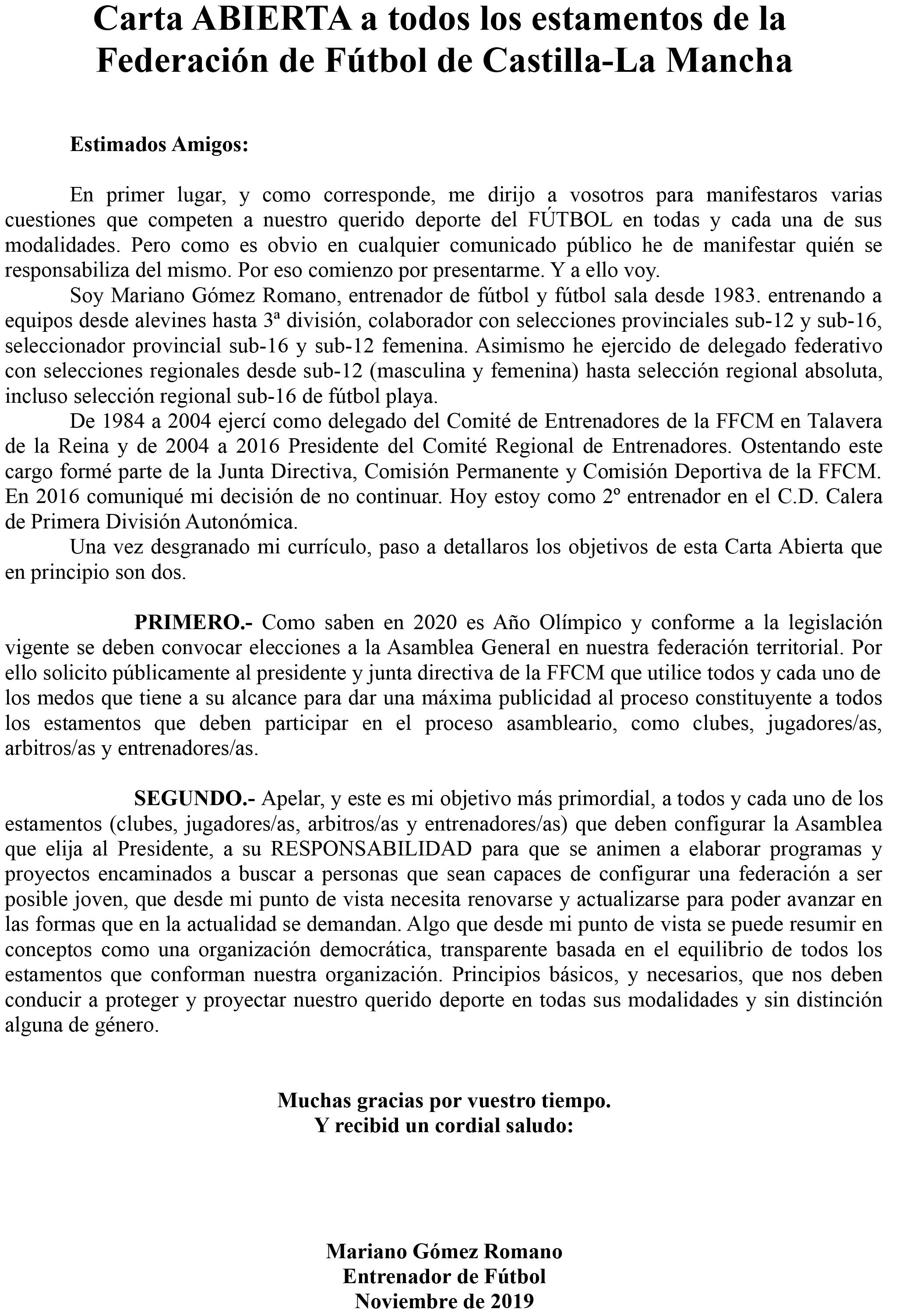 El talaverano Mariano Gómez dispuesto a liderar un nuevo proyecto para la Federación de Fútbol de C-LM - www.lavozdeltajo.com